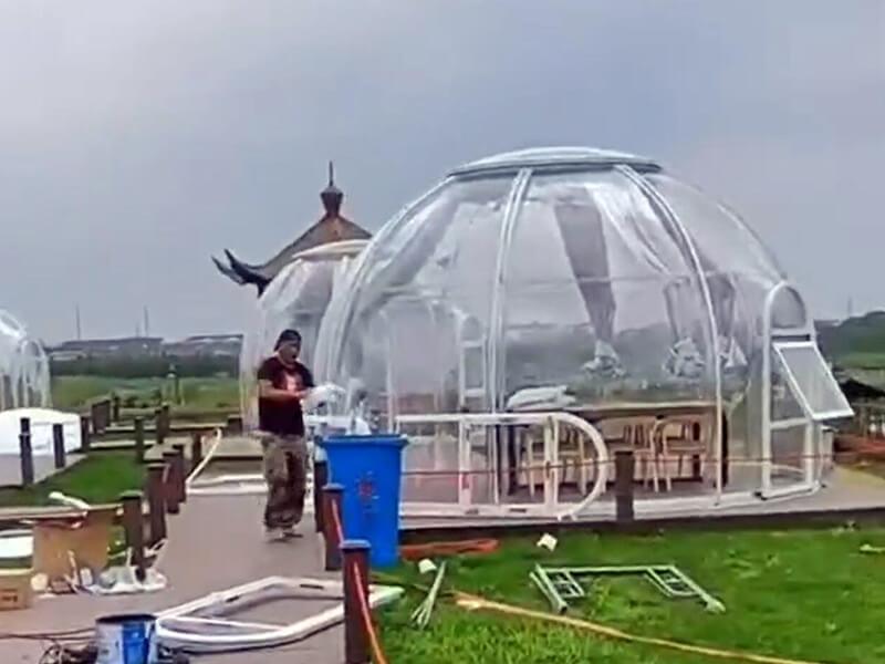 Installing bubble tent